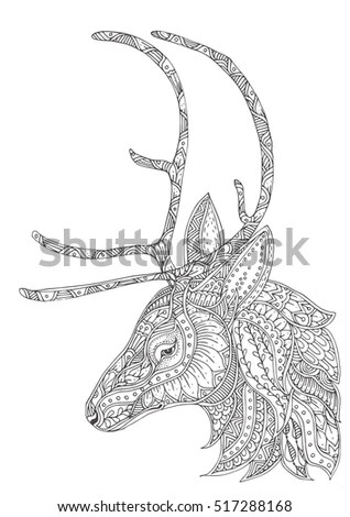 Hand-Drawn Reindeer With Ethnic Pattern. Coloring Page