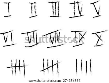 Handwritten Roman Numerals Set And Line Counting. Vector