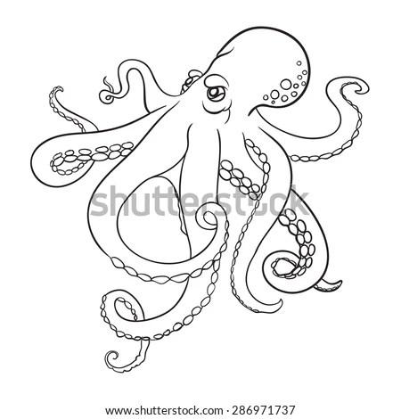 Orange Octopus Vector Illustration Of Cartoon Ocean