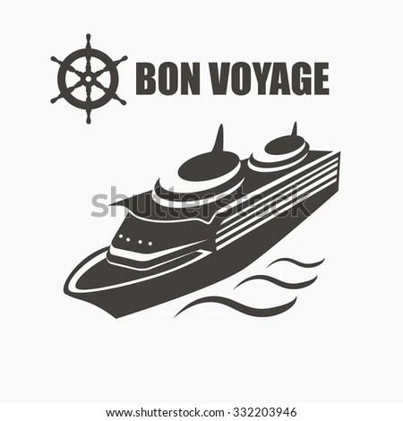 Cruise Ship. Bon Voyage Vector Label With Steering Wheel