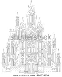 Fantasy drawing of medieval Gothic castle Black and white page for coloring Worksheet for children and adults Vector image Stock Images Page Everypixel