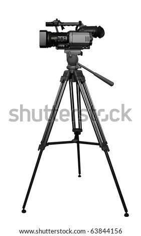 The Digital Video Camera On The Tripod Stock Photo