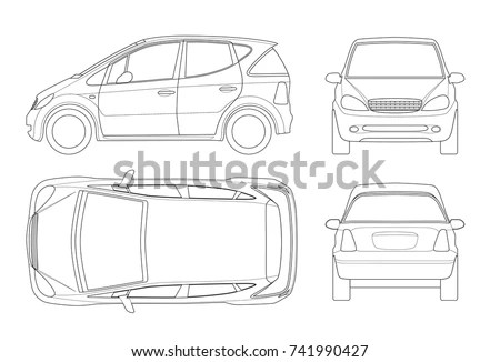 Outline sedan car vector drawing in… Stock Photo 604077962