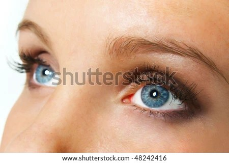 closeup staring female blue eyes with long lashes - stock photo