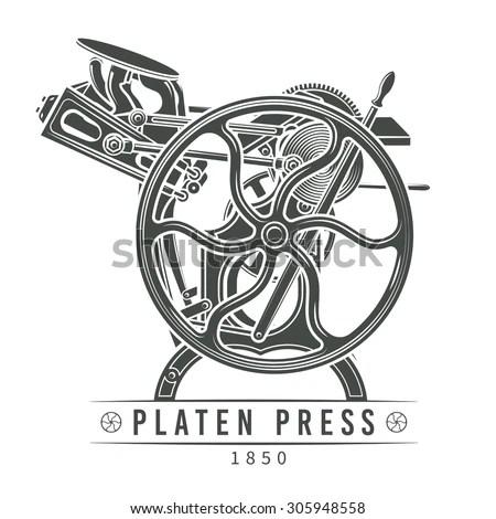 Letterpress printing machine vector… Stock Photo 305948552