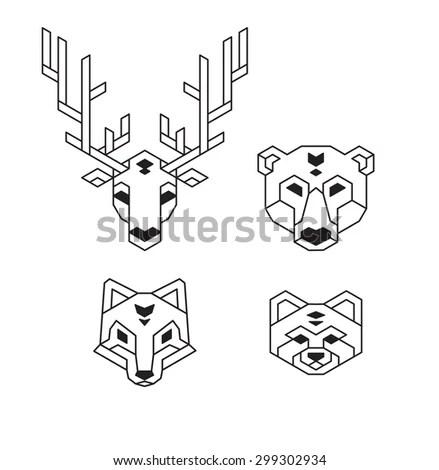 Stylized Geometric Animal Heads (Deer, Bear, Wolf Or Fox