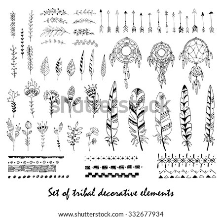 Set Of Tribal Decorative Elements. Feathers, Flowers