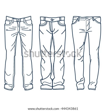 Hand Drawn Fashion Collection Of Men'S Jeans. Drawing Blue