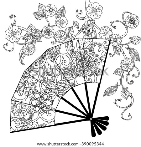 Blank Coloring Page Of Asian Fan Coloring Pages