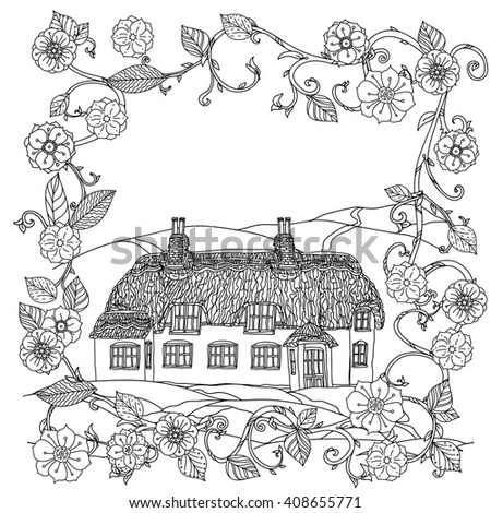 black and white flowers and Victorian house. for adult