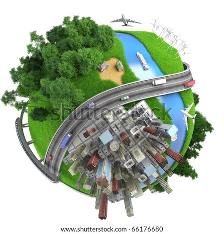 stock photo : concept miniature globe showing the various modes of transport and life styles in the world, isolated on white background