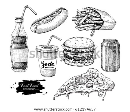 Vector set of fast food. Vector… Stock Photo 345518405