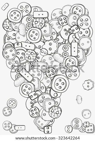 Heart Shape Pattern With Clothes Buttons For Coloring Book