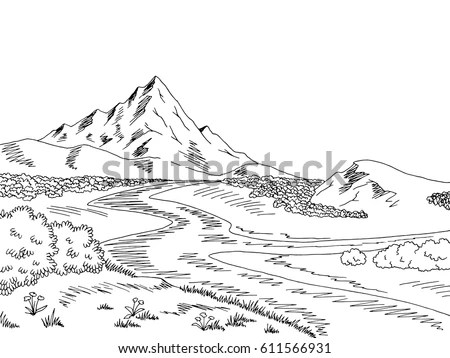 Mountains and valley with river… Stock Photo 303977639