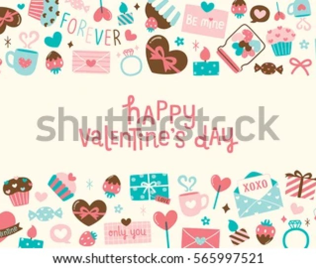 Happy Valentines Day Card With Cute Pastel Icons And Design Elements Collection Lollipops Flowers