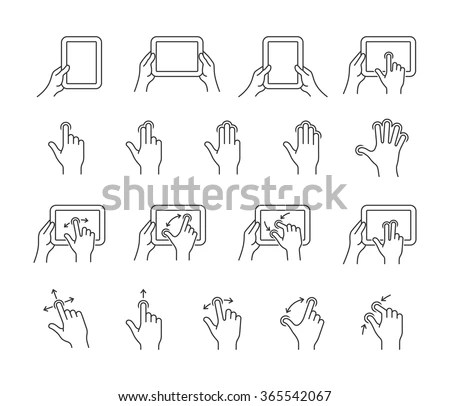 Gesture Icons For Tablet Touch Devices. Simple Outlined