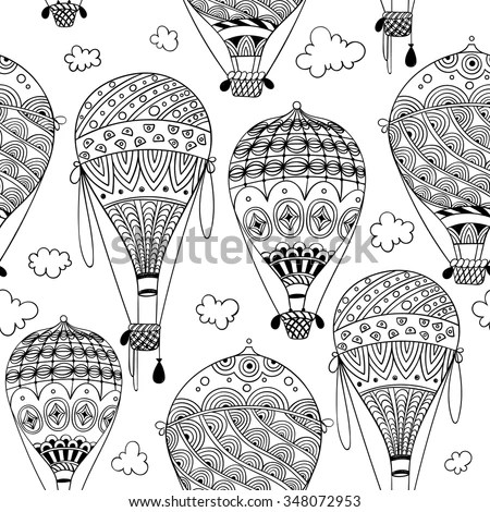 Black And White Seamless Pattern With Aerostat / Air