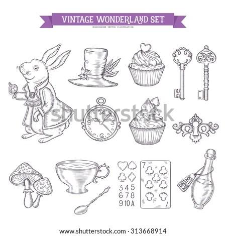 Wonderland Hand Drawn Set Of Design Elements. Vector