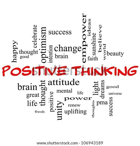 Positive Thinking Word Cloud Concept In Red Capital