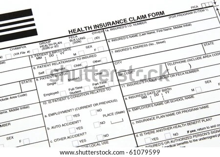 A Health Insurance Claim Form Ready To Be Filled Out For