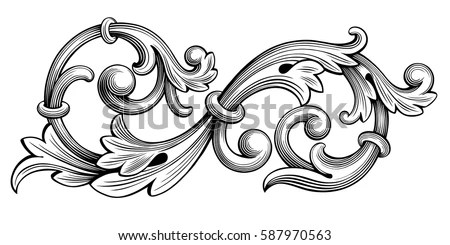 Retro Floral Scroll Free Vector