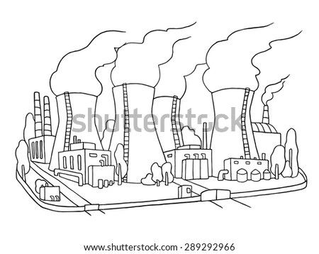 Industrial Sketch Of Nuclear Power Station. Doodle Factory
