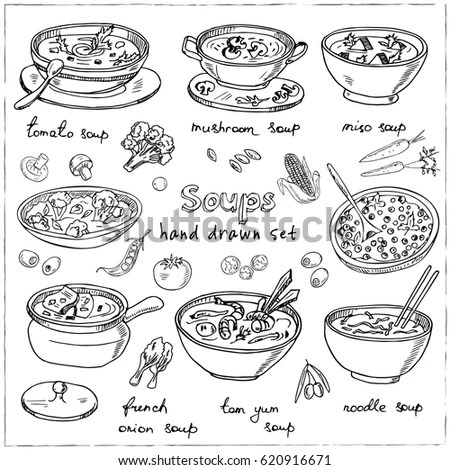 Chinese food icons vector doodle set Stock Photo 232145377