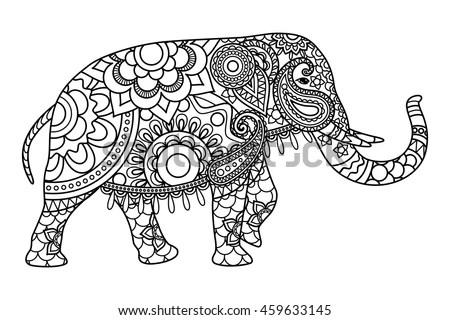 Royalty-free Elephant decorated mandala ornament