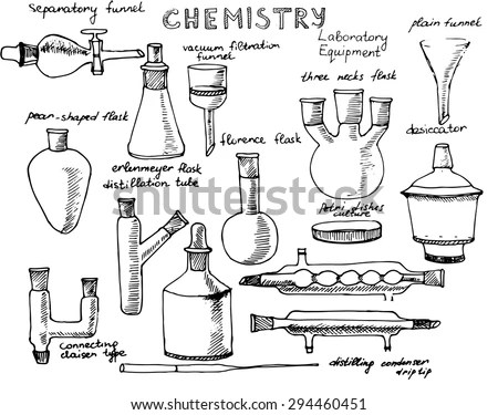 Set Of Hand Drawn Science Chemical Equipment, Chemistry