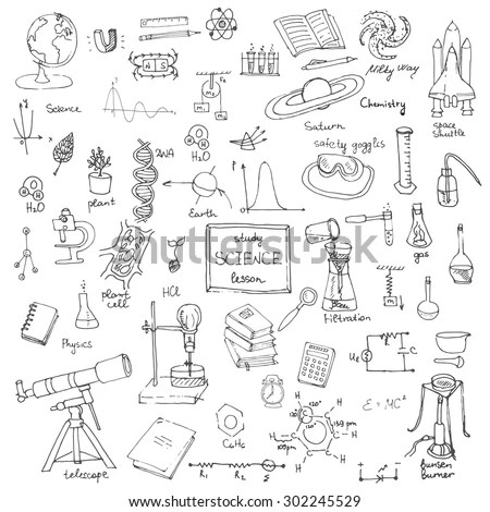 Freehand Drawing School Items, Back To School Science