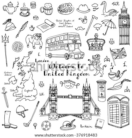 Royalty-free I Love London icons doodle set #198199814