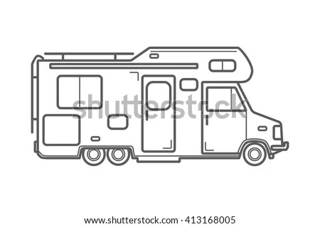 Vector Camping Car. Caravan Truck Icon. Camper Van Line