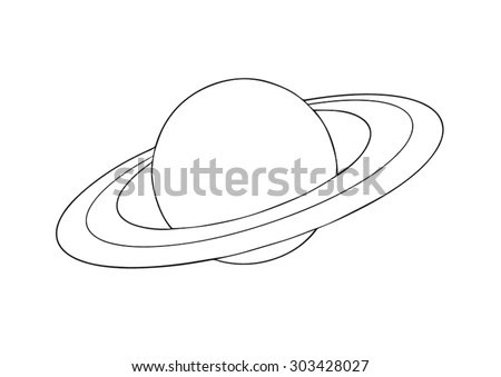 Vector Outline Saturn Planet With Rings On White