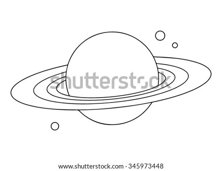 Planet Saturn With Rings Outline. Stock Vector 345973448