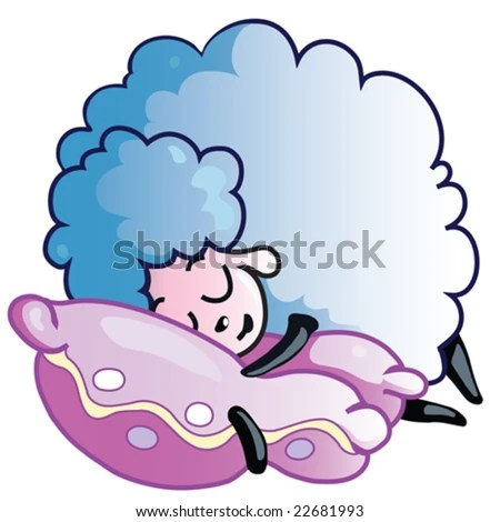 Blue sheep sleeping on a pillow - stock vector