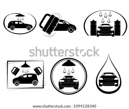 Car wash. Four variants car wash icons… Stock Photo