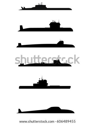 Black silhouette u-boat on white… Stock Photo 36938815