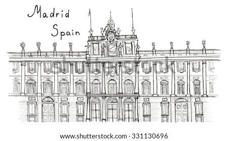 Royalty-free London, Buckingham palace gate, Sketch