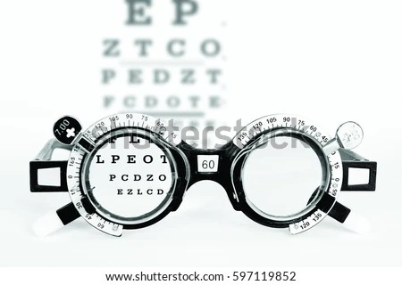 Optometrist trial frame for eye test with eye chart