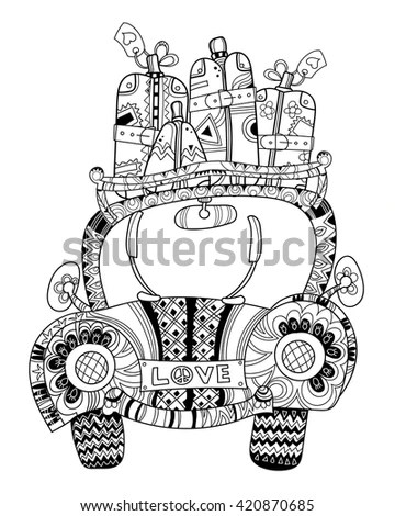 Hand drawn doodle outline holiday car… Stock Photo
