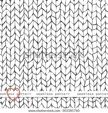 Seamless Knitted Hand Drawn Background . Neutral Winter