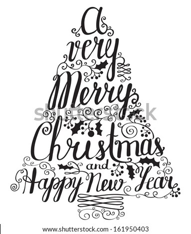 Calligraphy Lettering Christmas Tree Stock Vector