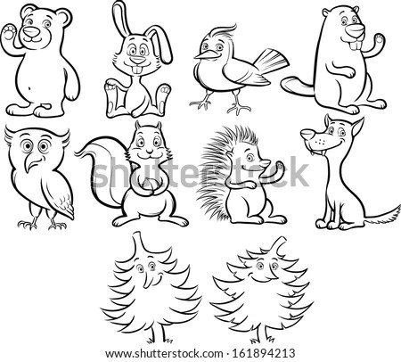 Vector Illustration Of Coloring Book Cute Cartoon Forest