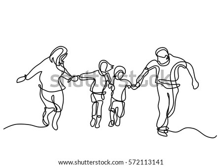 Royalty-free Continuous line drawing of happy successful
