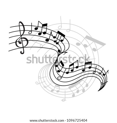 Royalty-free Live Music poster template with a clef