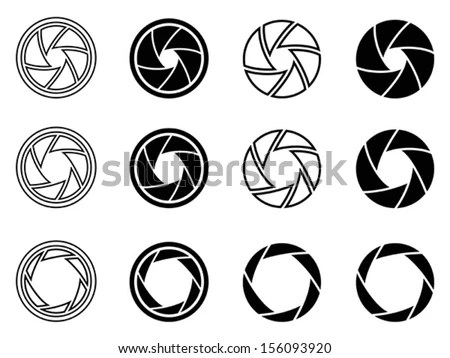 Camera Shutter Aperture Icons Stock Vector Illustration