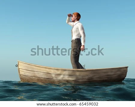 man drifting in a boat