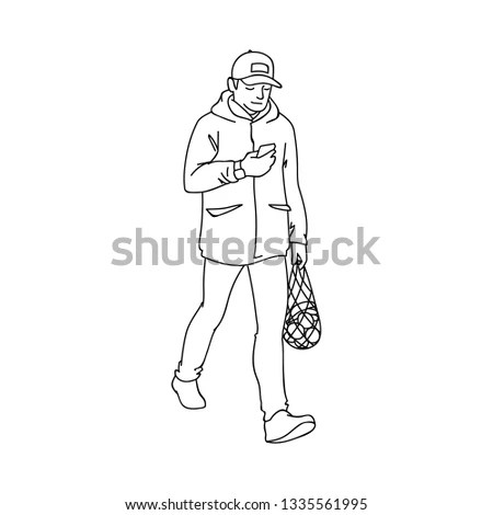 Hand drawing of a stylish boy in sketch… Stock Photo