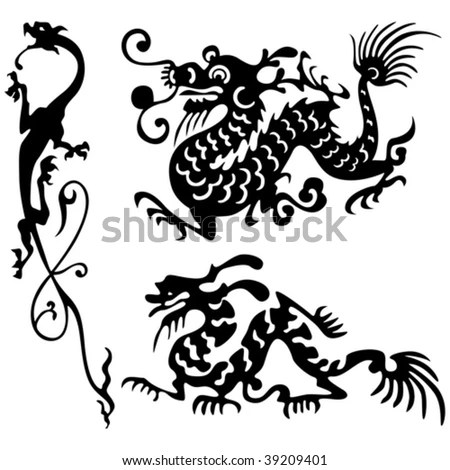 Tattoo of dragons. ancient