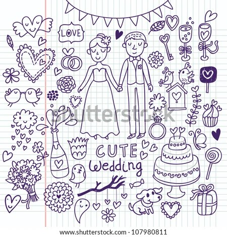 Doodle Vector Wedding Set Can Be Used For Weddind